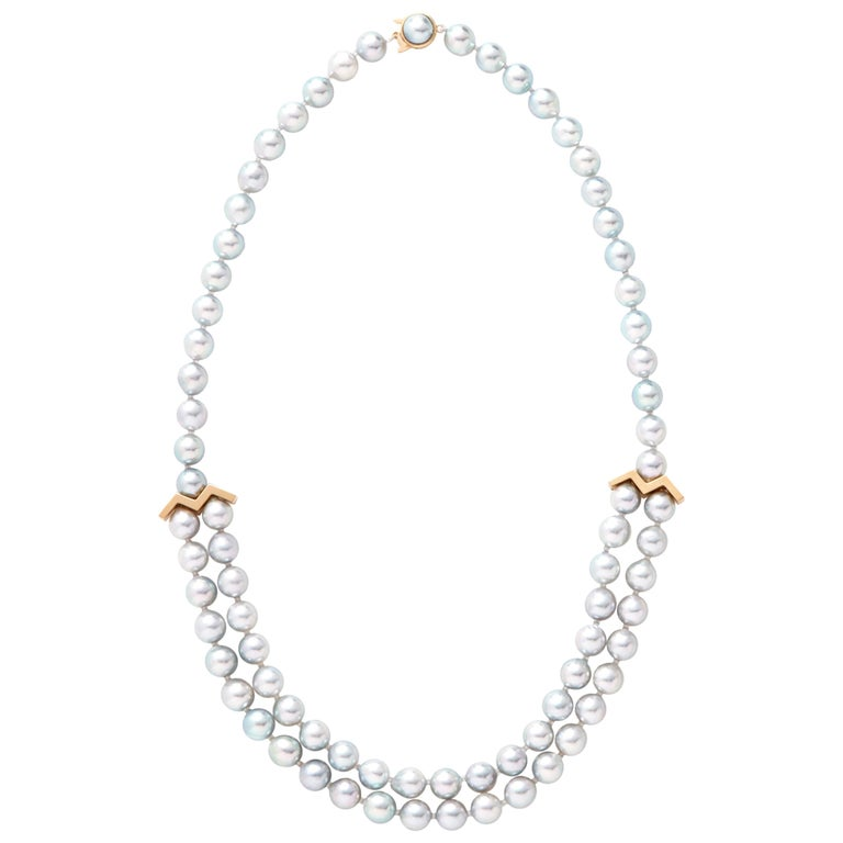 18 Karat Yellow Gold Akoya Pearl Necklace