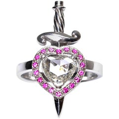 18kt White Gold, 0.70 Carat Diamond, 0.20 Carat Ruby, Heart & Dagger Ring