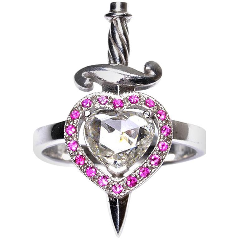 18kt White Gold, 0.70 Carat Diamond, 0.20 Carat Ruby, Heart & Dagger Ring For Sale