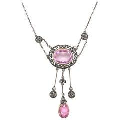 Victorian Diamond and Pink Tourmaline Pendant