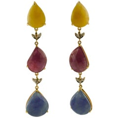 Yellow and Blue Sapphires, Rubies, Tsavorites, Diamonds Rose Gold Drop Earrings