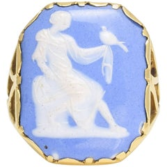 "Antique Georgian ""Girl With Dove"" Cameo Ring"