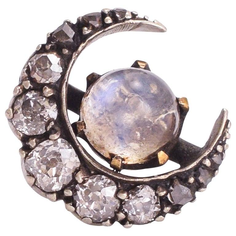 Antique Victorian Moonstone Diamond Crescent Stud Earring