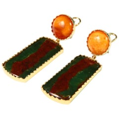 Amber Jasper Gold Earrings