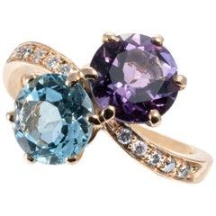 Blue Topaz Amethyst Diamond 24K Yellow Gold Contrarié Ring Band