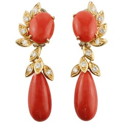 Red Coral, Diamonds Yellow Gold Clip-On Earrings