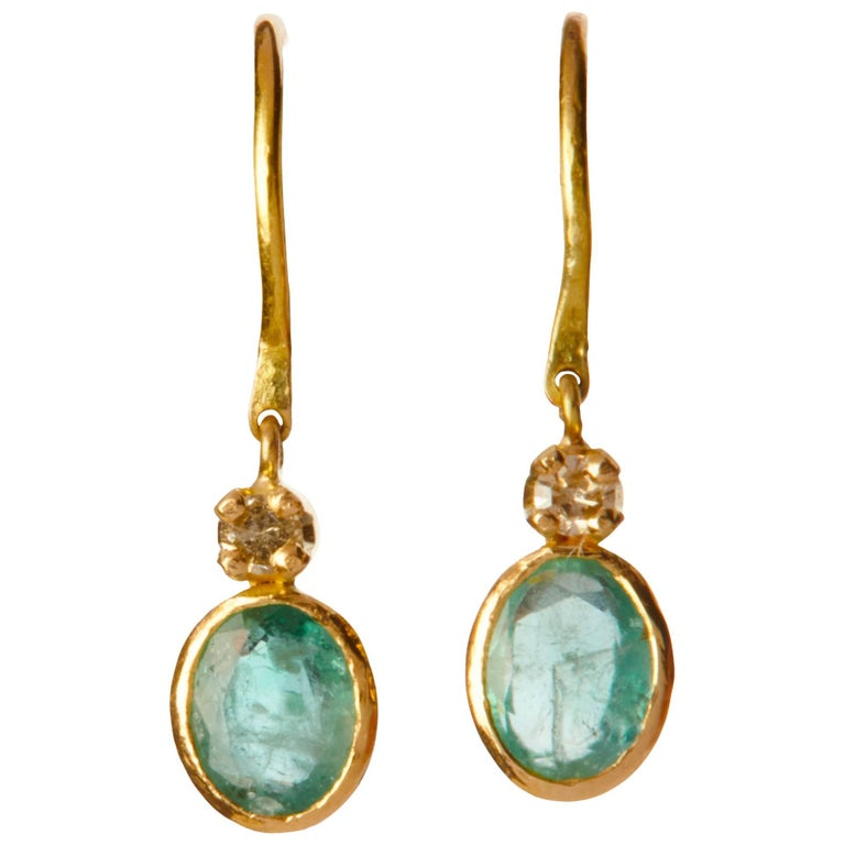 14 Karat Gold Green Emerald and Diamond Small Dangling Earrings For Sale