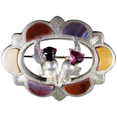 Antique Victorian Agate Scottish Thistle Brooch, circa 1860