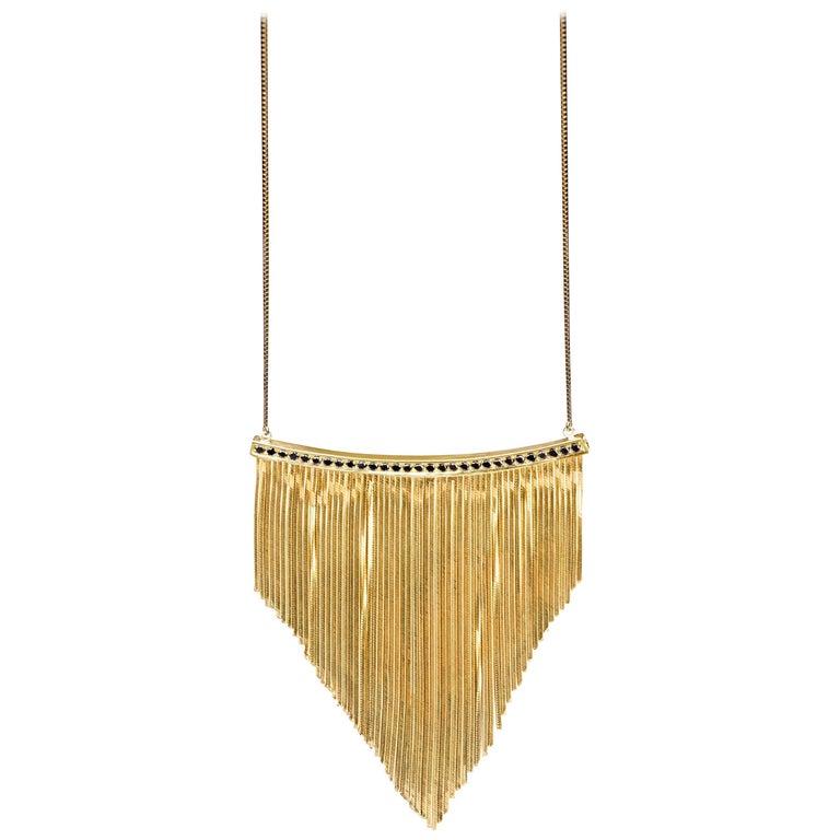 Iosselliani 18 Karat Gold Black Diamonds Pavé Swinging Necklace