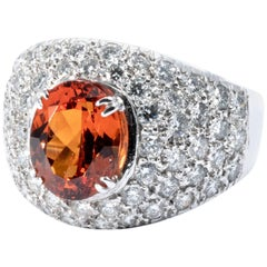 Diamond and Mandarin Garnet 18K White Gold Cocktail Band Ring