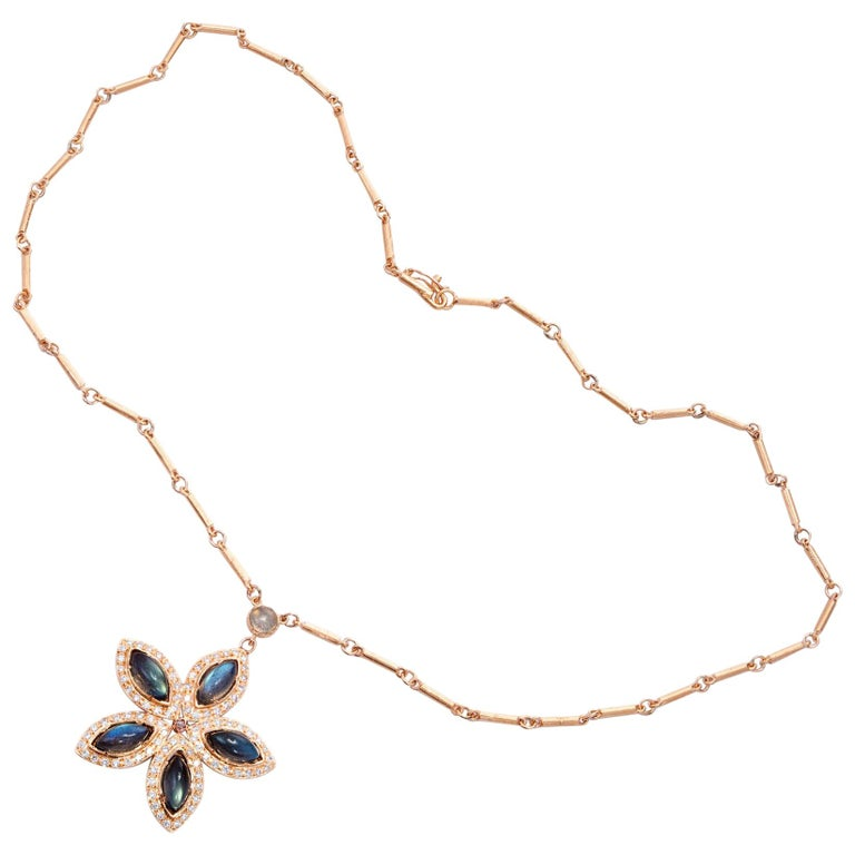 Irene Neuwirth Labradorite Diamond Rose Gold Pendant Necklace For Sale