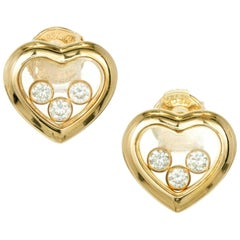 Chopard .30 Carat Heart Shape Happy Diamond Gold Stud Earrings