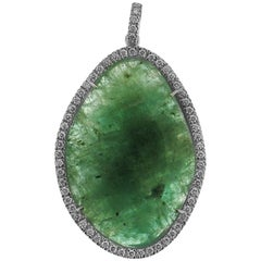 Emerald and Diamonds 0.32 Karat White Gold 18 Karat Pendant