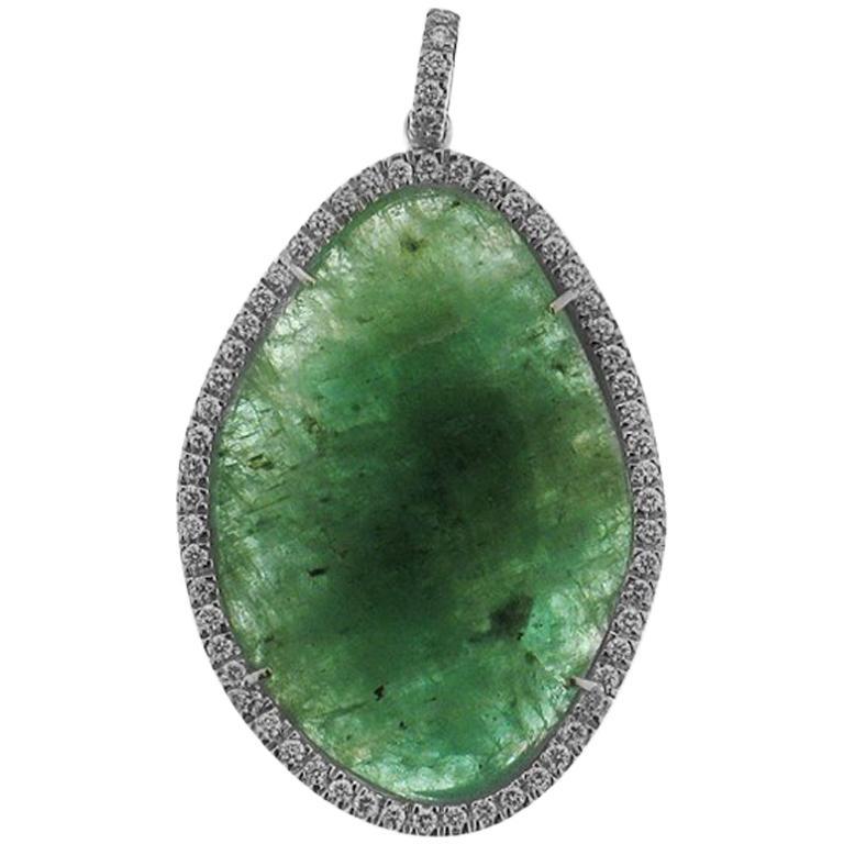 Emerald and Diamonds 0.32 Karat White Gold 18 Karat Pendant