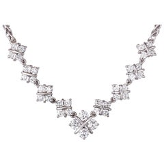1.60 Carat Diamond Checkerboard Design Platinum Necklace