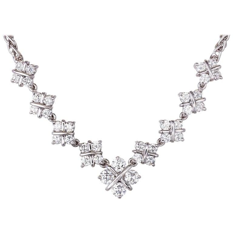 1.60 Carat Diamond Checkerboard Design Platinum Necklace For Sale