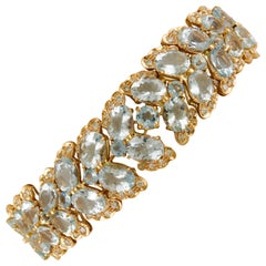 Aquamarine Diamonds Rose Gold Link Bracelet