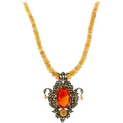 Australian Opal Gold and Silver Fire Opal Necklace