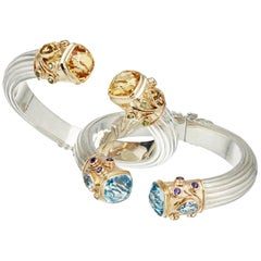 Citrine, Blue Topaz, Amethyst & Peridot Yellow Gold & Silver Bangle Pair