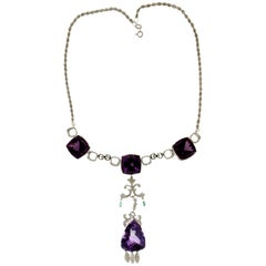 Amethyst 18 Karat Gold Diamonds Pendant Necklace