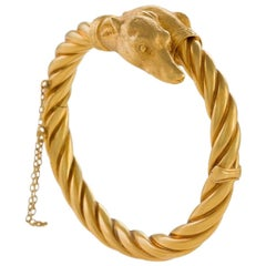"Antique Gold ""Whippet"" Dog Bracelet"