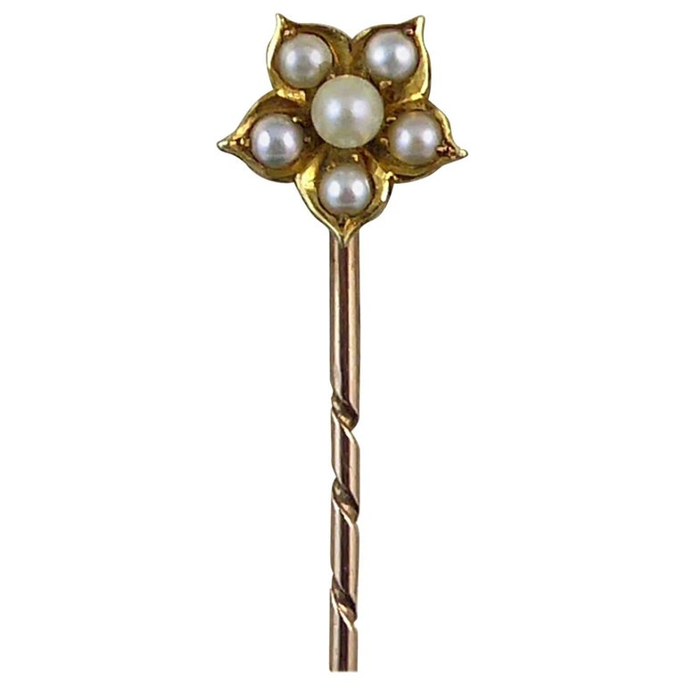 Antique Pearl Flower Stick Pin, Yellow Gold