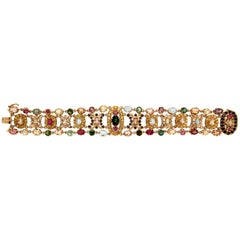 Multi-Color 14 Carat Yellow Gold Cuff Bracelet