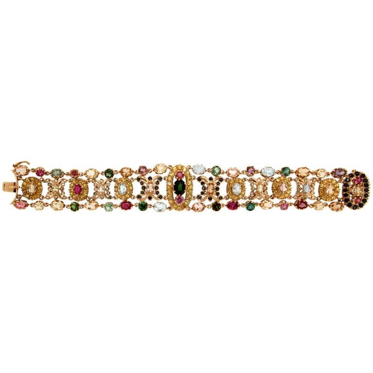 Multi-Color Gold Cuff Bracelet