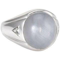 No Heat 6 Point Star Sapphire Diamond Men's Ring 14 Karat White Gold