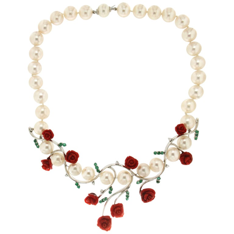 Pearls,Coral 18 Carat White Gold Diamonds Choker Necklace