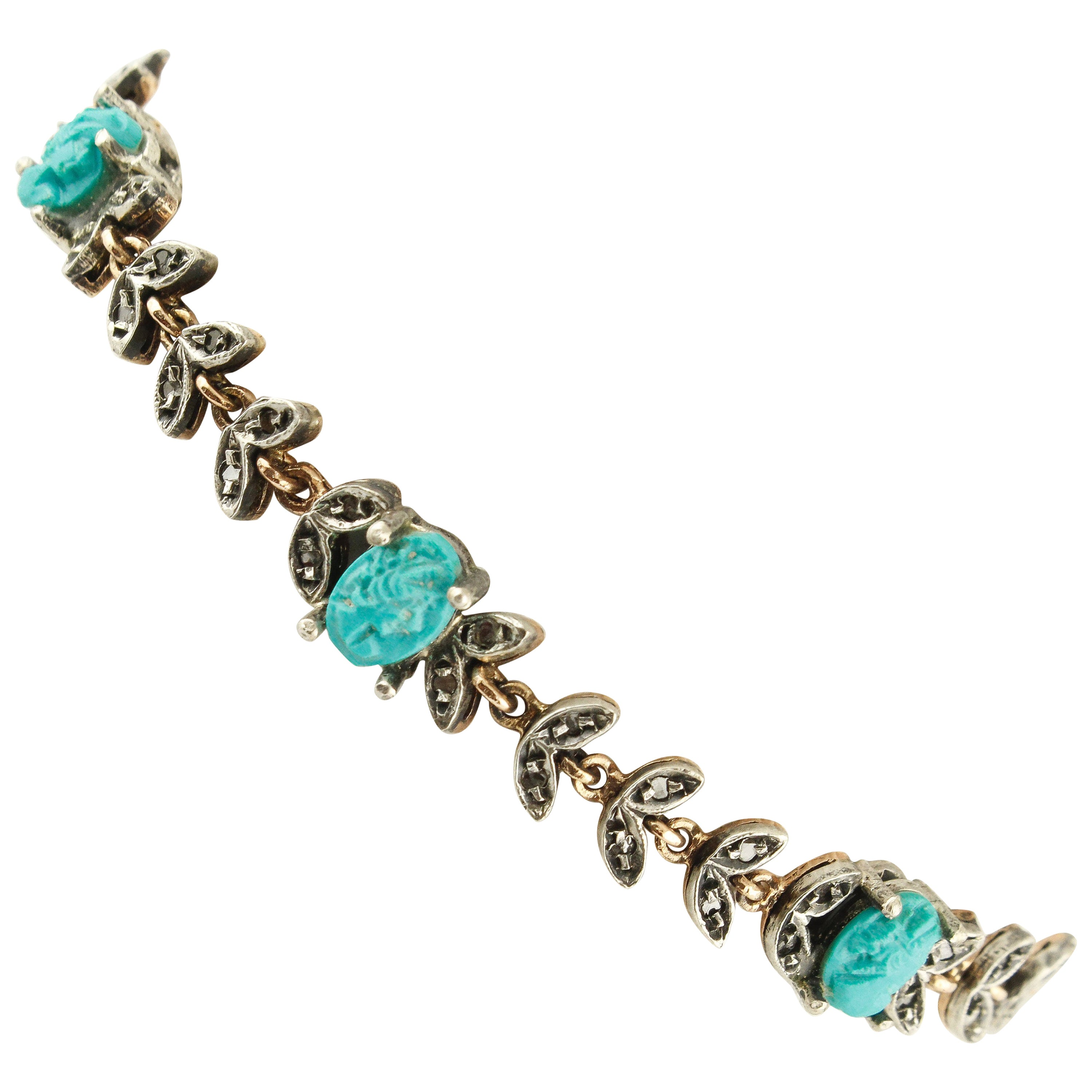 Micro-Sculptures of Turquoise, Diamonds Rose Gold and Silver Link Bracelet