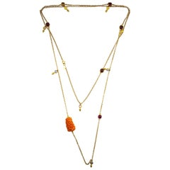 4.80 Carat Tourmaline Pink Coral 0.80 Carat Opal Yellow Gold Drop Necklace
