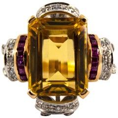 0.40 Carat Diamond 0.15 Carat Ruby Citrine Yellow Gold Cocktail Ring