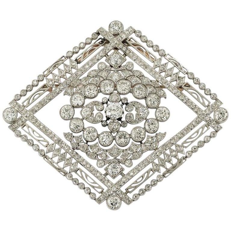 Edwardian Platinum Diamond Brooch 1910s