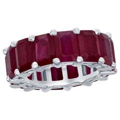 Eternity Burma Ruby Ring Emerald Cut