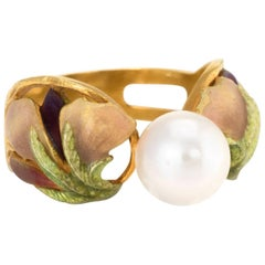 Masriera Cultured Pearl Enamel Ring Estate 18 Karat Yellow Gold Spain