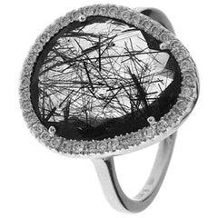 Quartz and White Diamonds White Gold Fashion Ring