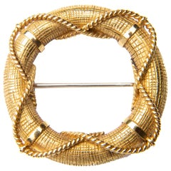 French 18 Carat Gold Asprey 1970s Life-Ring with Rope Twist Overlay Brooch