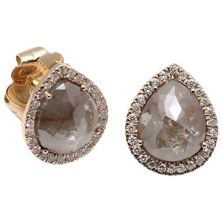 Colored Diamond and White Diamonds Yellow Gold 18 Karat Earrings