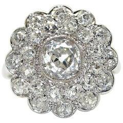Platinum Art Deco Double Diamond Cluster Engagement Ring
