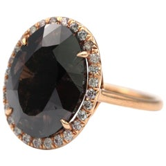 Natural Black Oval Diamond 8.50 Carat 20 Karat Rose Gold Ring Pink Diamonds