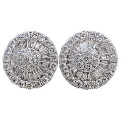 18 Karat White Gold Fan Style Earrings - 1.0 Carat of Baguette & Round Diamond
