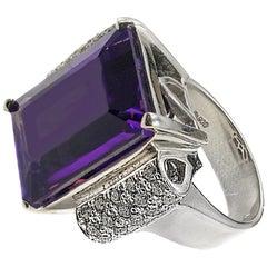 16.20 Carat Amethyst Diamond Platinum Cocktail Ring
