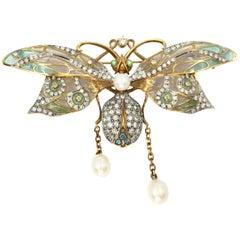 Masriera 18K Dragonfly Diamond and Pearl Pendant Brooch 1.62 Diamond Carat TW