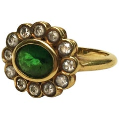 Emerald and Old Cut Diamond 18 Karat Yellow Gold Ring