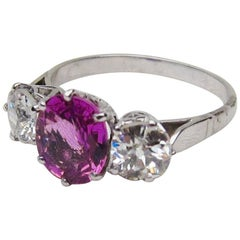 Art Deco Pink Sapphire and Diamond Three-Stone Platinum Linear Ring