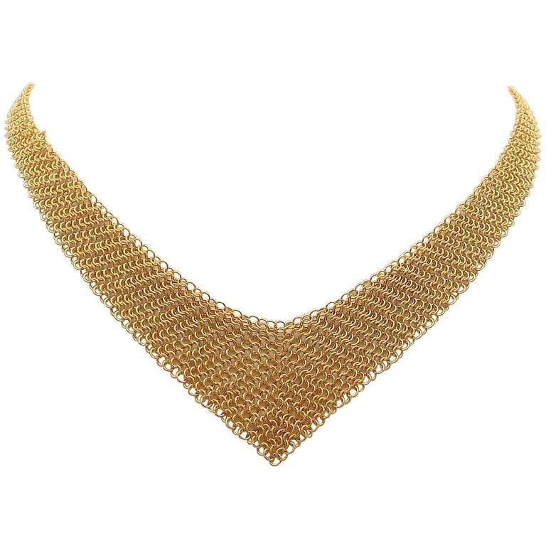 Elsa Peretti for Tiffany & Co. 18 Karat Gold Graduated Mesh Lariat Necklace