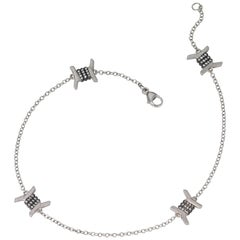 Wendy Brandes Barbed Wire Diamond and Platinum Ankle Bracelet/Anklet