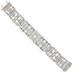 1920s Art Deco Diamond and Emerald Bracelet, Original
