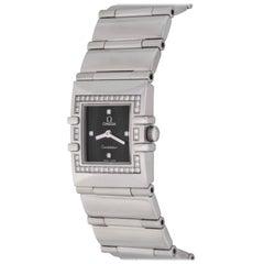 Omega ladies Stainless Steel Diamond Constellation Quadra Quartz Wristwatch